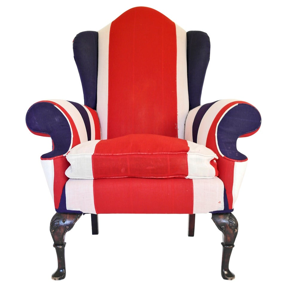 Union Jack Upholstered Queen Anne Wing Back Chair For Sale  sc 1 st  1stDibs & Union Jack Upholstered Queen Anne Wing Back Chair For Sale at 1stdibs