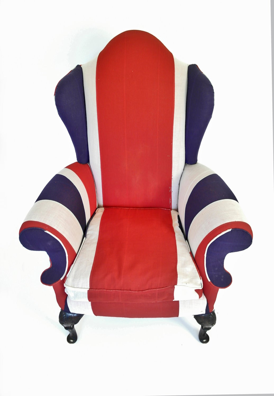 Union Jack Upholstered Queen Anne Wing Back Chair at 1stdibs