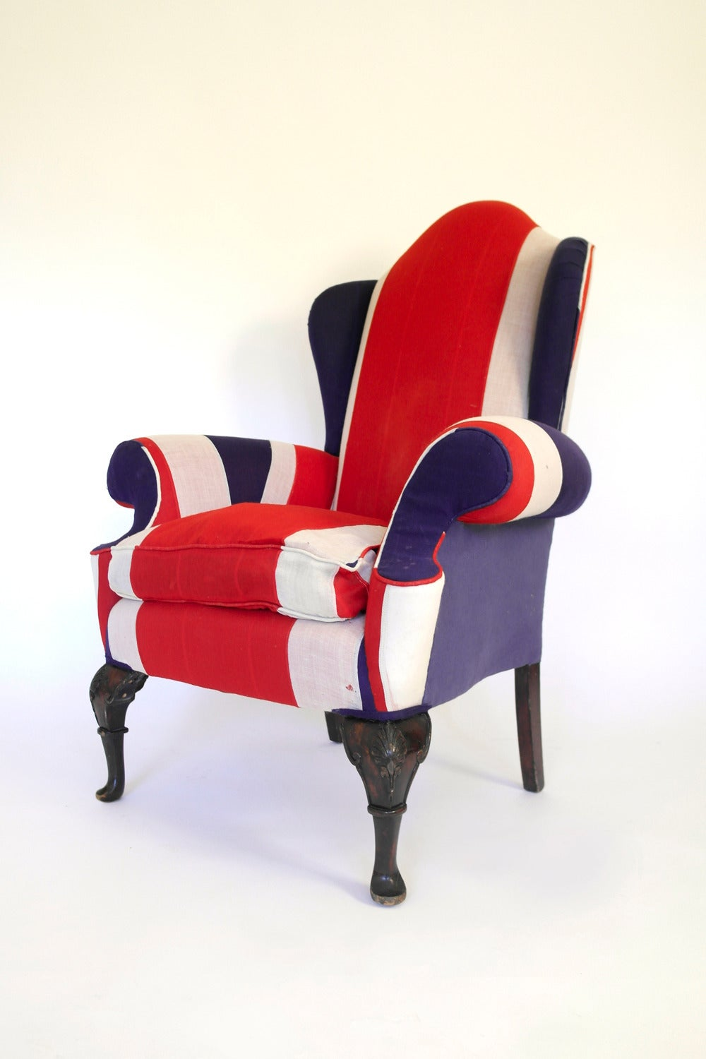 Union Jack Upholstered Queen Anne Wing Back Chair For Sale