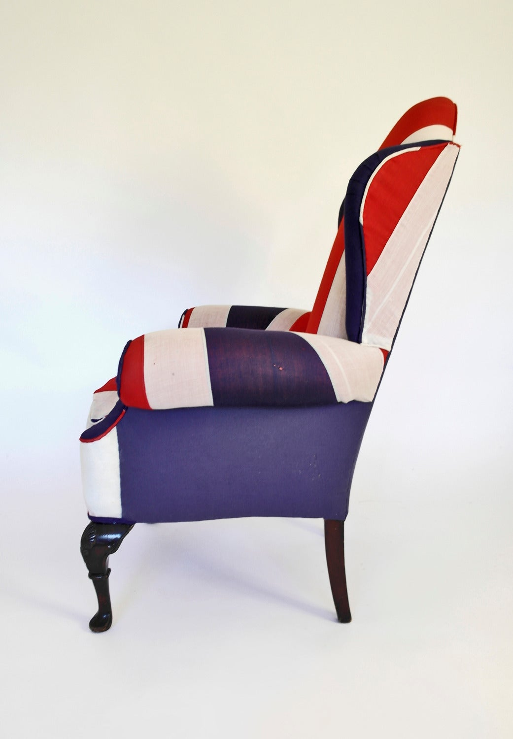 Union jack upholstered queen anne wing back chair for sale for Furniture jack