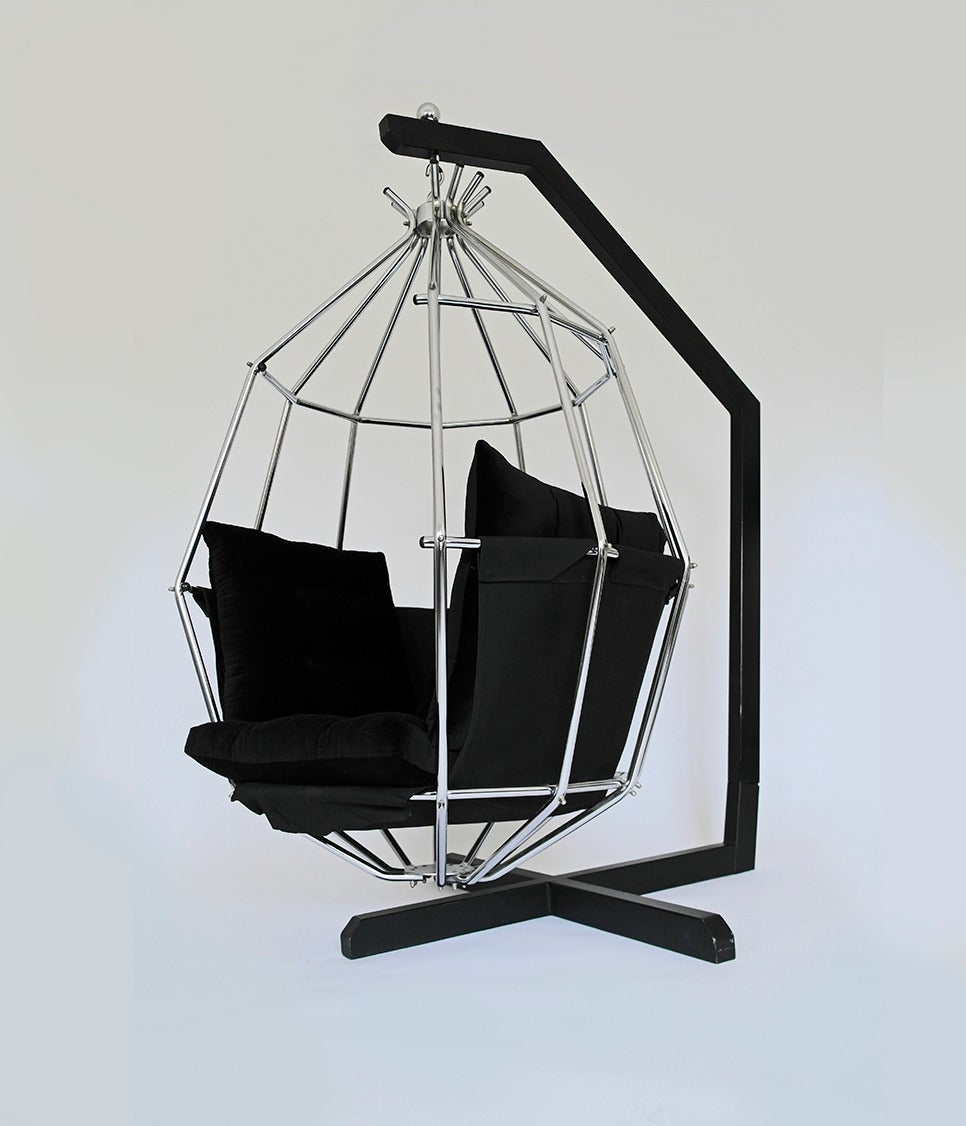 Mid-Century Modern Retro 1970s Hanging Birdcage Chair by Ib Arberg, Arbre Designs Parrot Chair For Sale