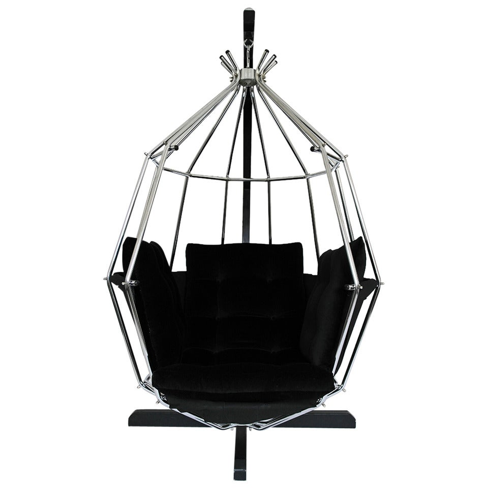 Awesome Retro 1970s Hanging Birdcage Chair By Ib Arberg, Arbre Designs Parrot Chair  For Sale