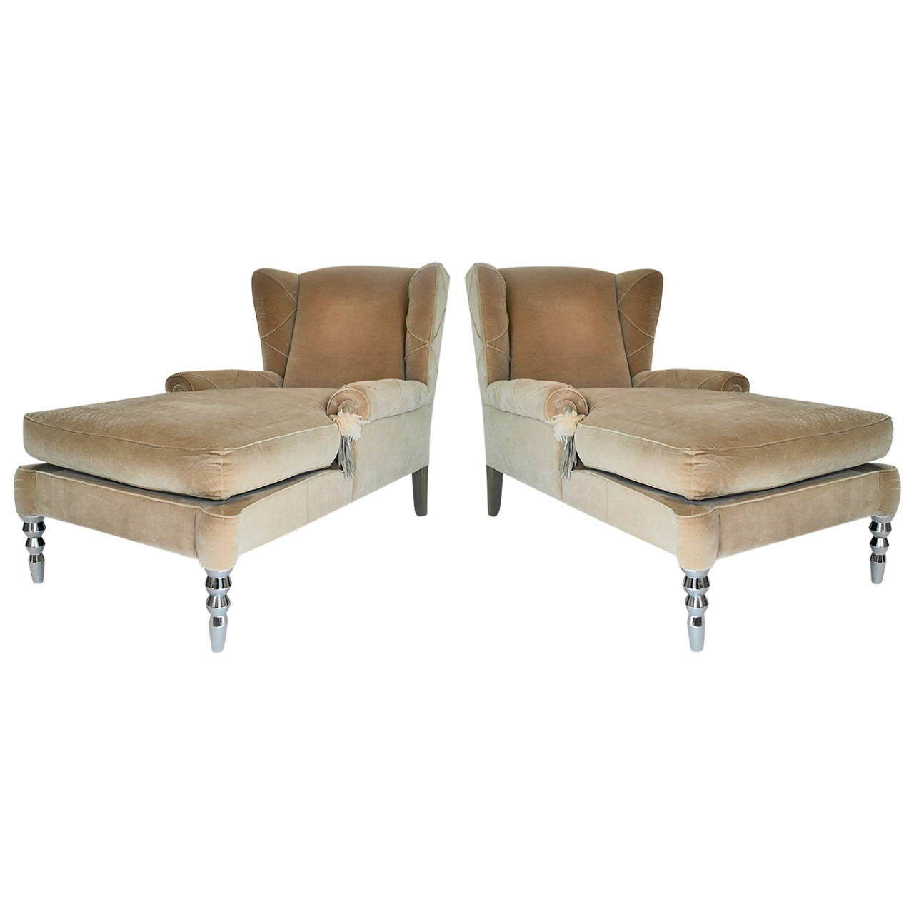 Pair of roberto cavalli chaise day bed wingback chairs for for Chaise longue day bed