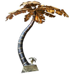 Superb Giant Brutalist 1970s Hollywood Regency Palm Tree Floor Lamp