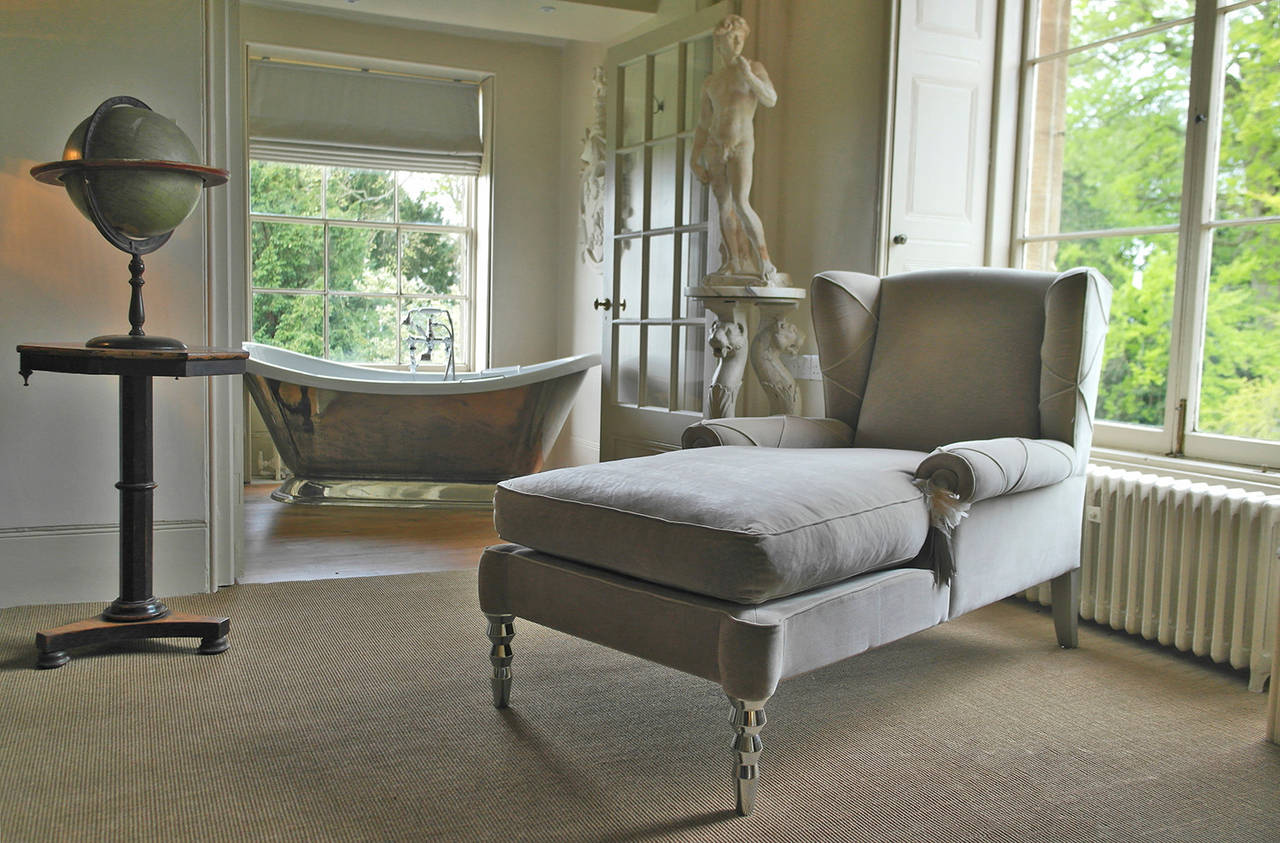 Pair of roberto cavalli chaise day bed wingback chairs for for Chaise or daybed