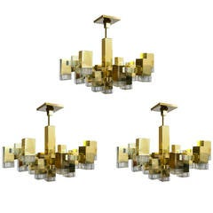 Midcentury Gold and Brass Sciolari Cube Burst Chandelier, 1960s