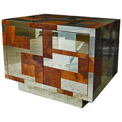 Paul Evans Cityscape Bar Cabinet in Brass and Burl