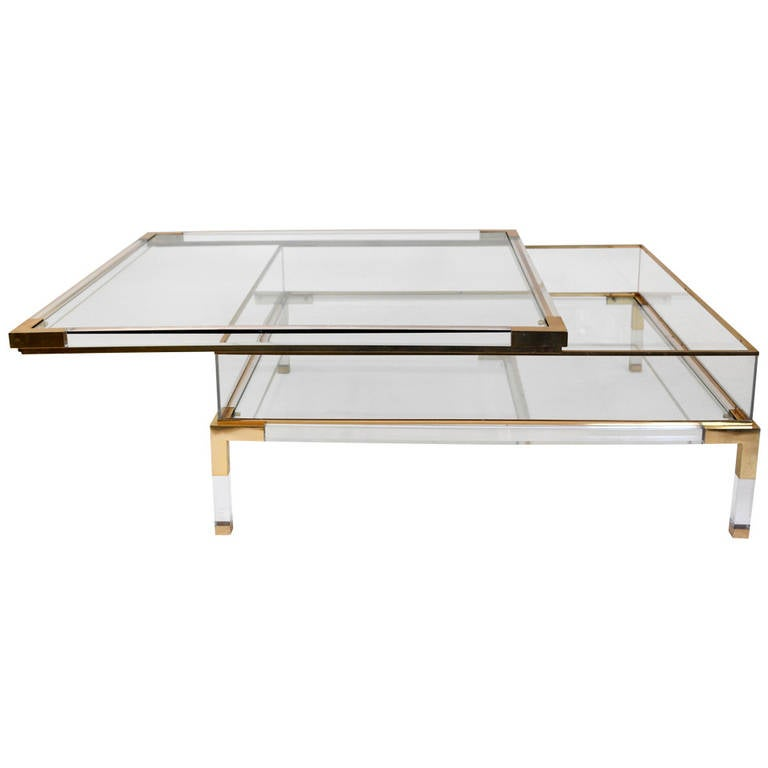 Mid century lucite and brass sliding box coffee table at for Lucite and brass coffee table