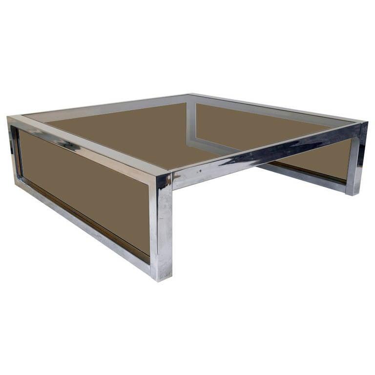 Mirror Chrome And Smoke Glass Modernist Coffee Table Circa 1970s For Sale At 1stdibs