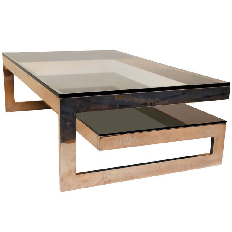 Cantilevered 39 G 39 Gold Coffee Table With Smoke Glass Tiered Shelf At 1stdibs