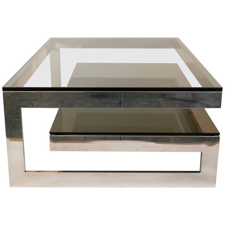 Cantilevered 39 G 39 Mirror Chrome Coffee Table With Smoke Glass Tiered Shelf For Sale At 1stdibs