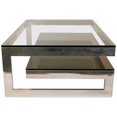 Cantilevered 'G' Mirror Chrome Coffee Table with Smoke Glass Tiered Shelf