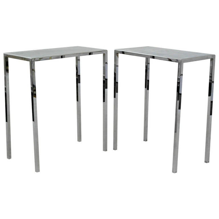 Pair of philippe starck chrome side tables for sale at 1stdibs for Philippe starck tables
