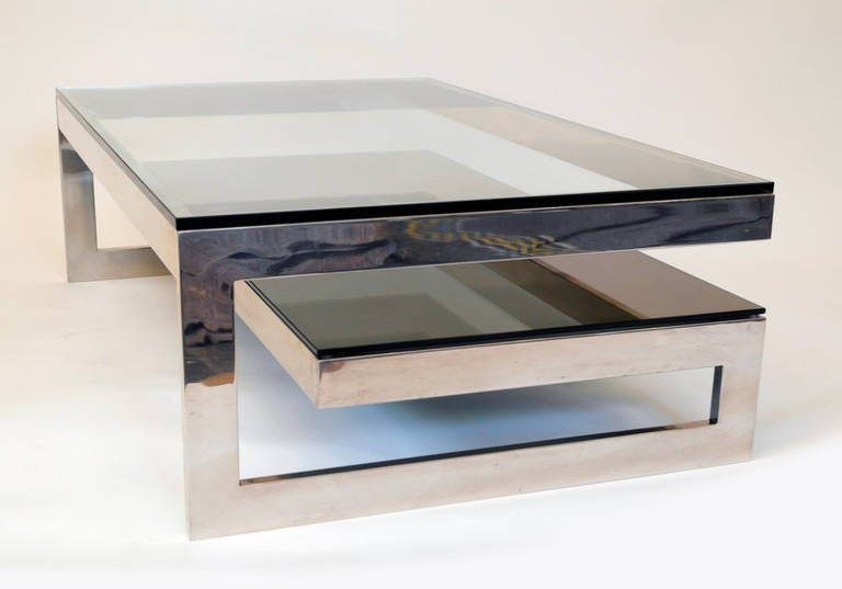 Cantilevered G Mirror Chrome Coffee Table with Smoke Glass