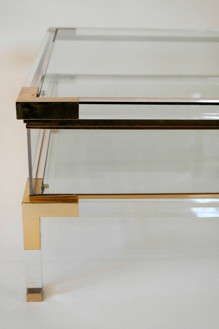 Mid Century Lucite And Brass Sliding Box Coffee Table At 1stdibs