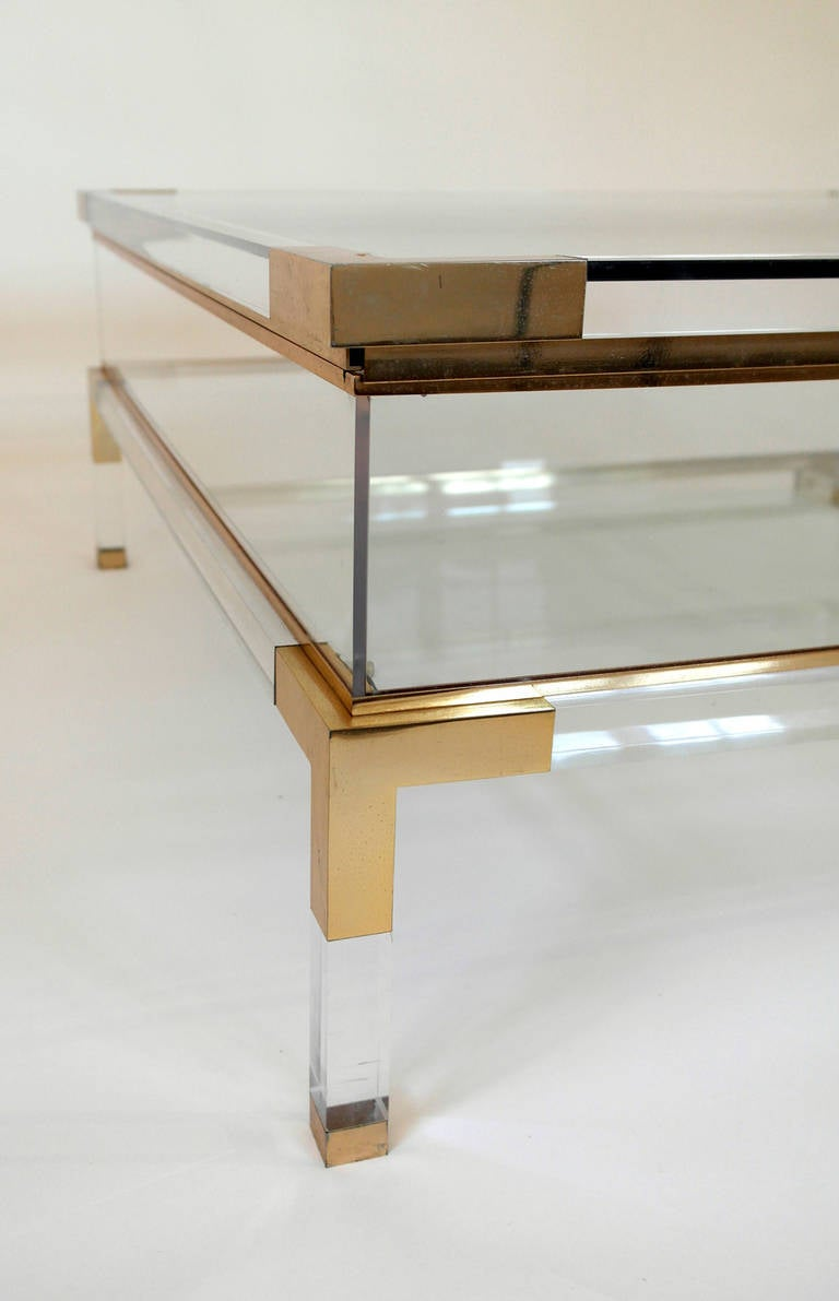 Acrylic Box Table : Mid century lucite and brass sliding box coffee table at