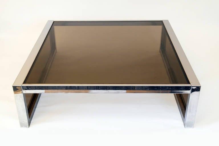 Mirror Chrome And Smoke Glass Modernist Coffee Table, Circa 1970s 3