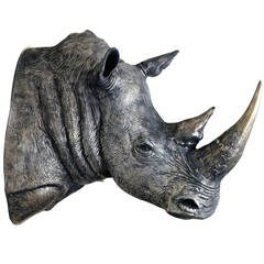 Bronzed Rhino, a Scale Model Rhinoceros Head by James Perkins Studio