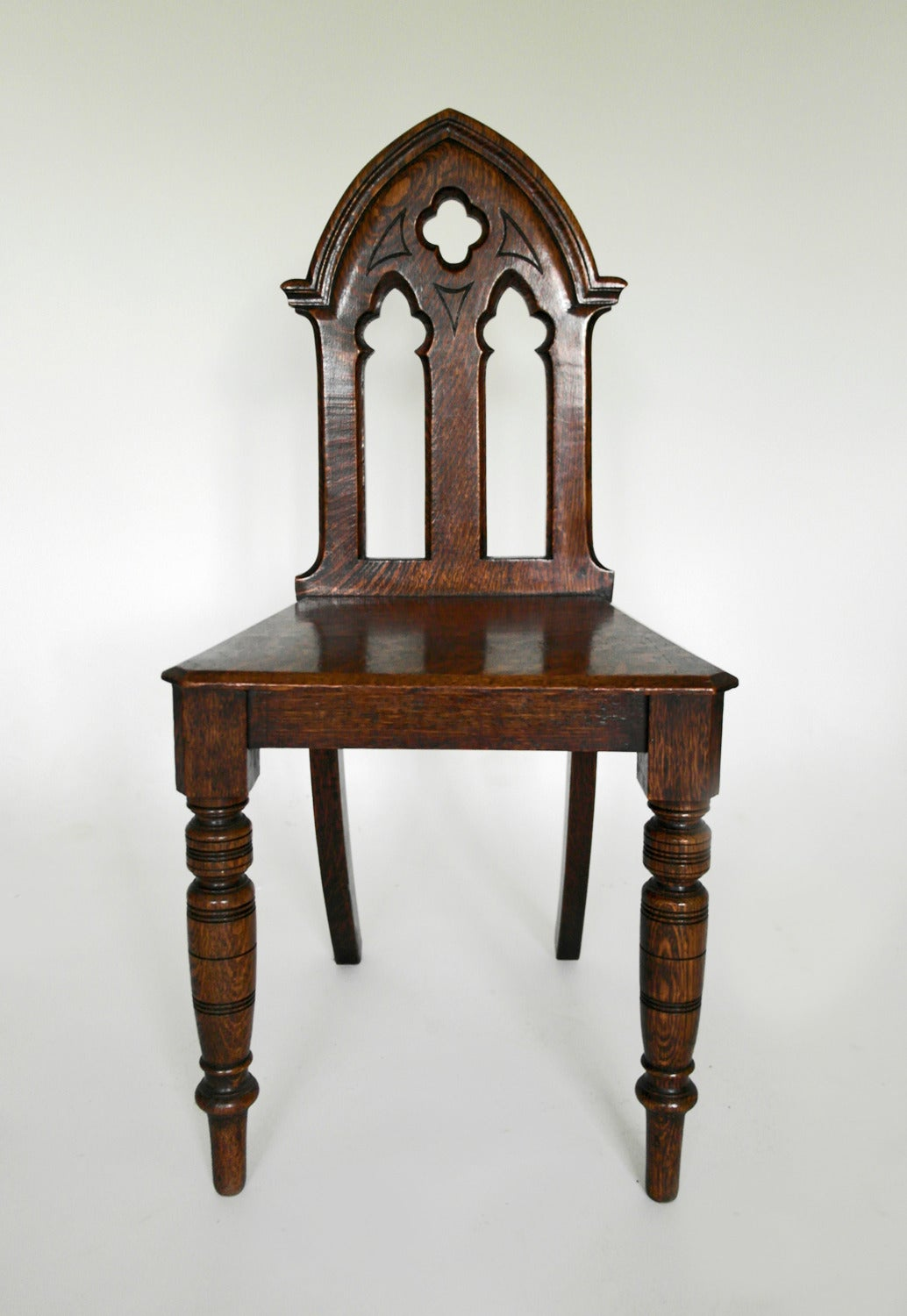 Pair of english victorian gothic style oak hall chairs at for Victorian gothic chair