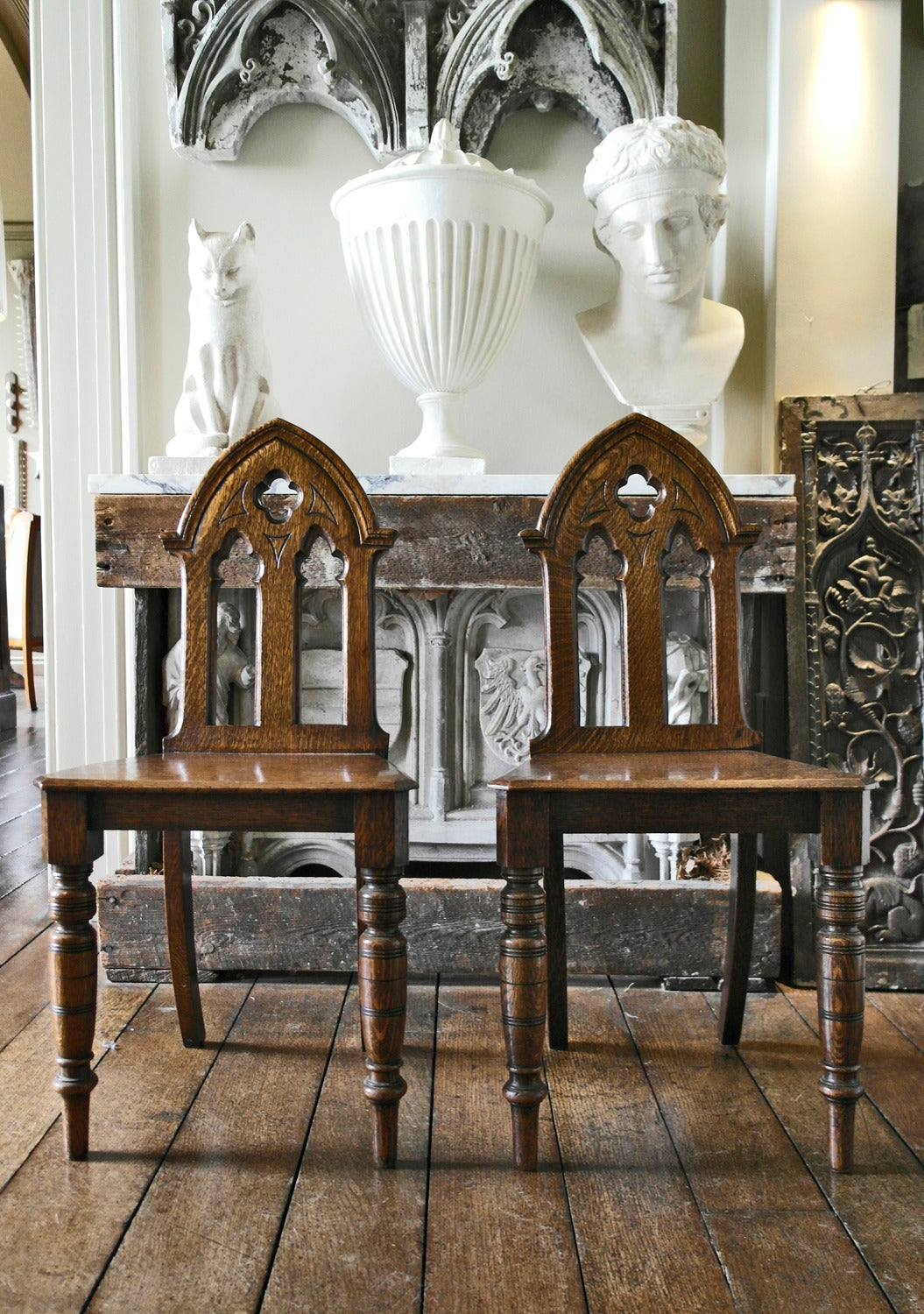 Pair Of English Victorian Gothic Style Oak Hall Chairs 3