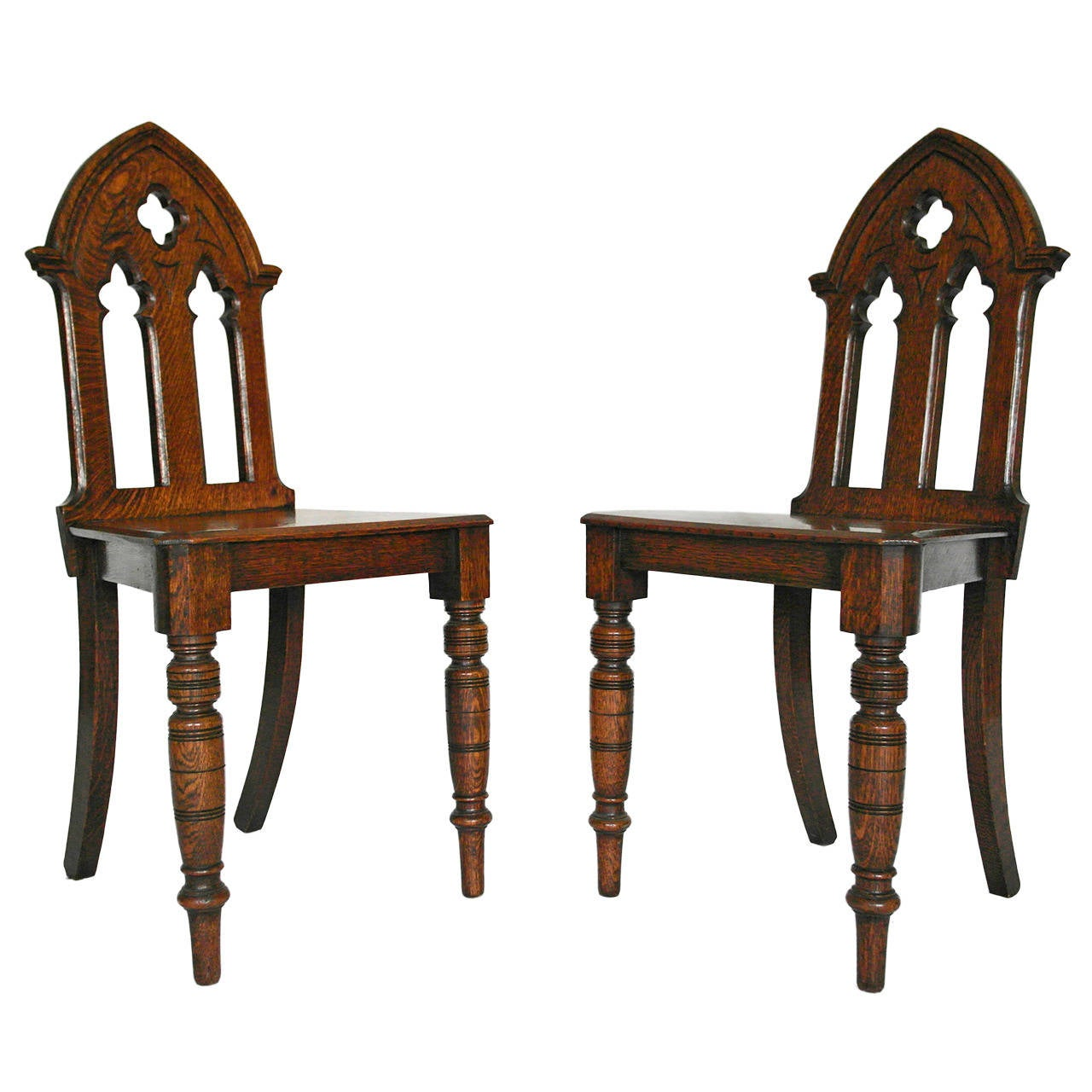 Gothic furniture chair - Pair Of English Victorian Gothic Style Oak Hall Chairs 1