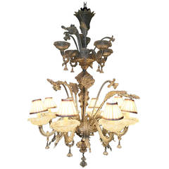 Magnificent 1950's Large Venetian Murano Glass Chandelier