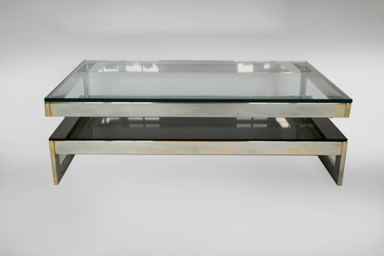 Cantilevered Gold And Smokey Glass G Coffee Table Mid Century At 1stdibs
