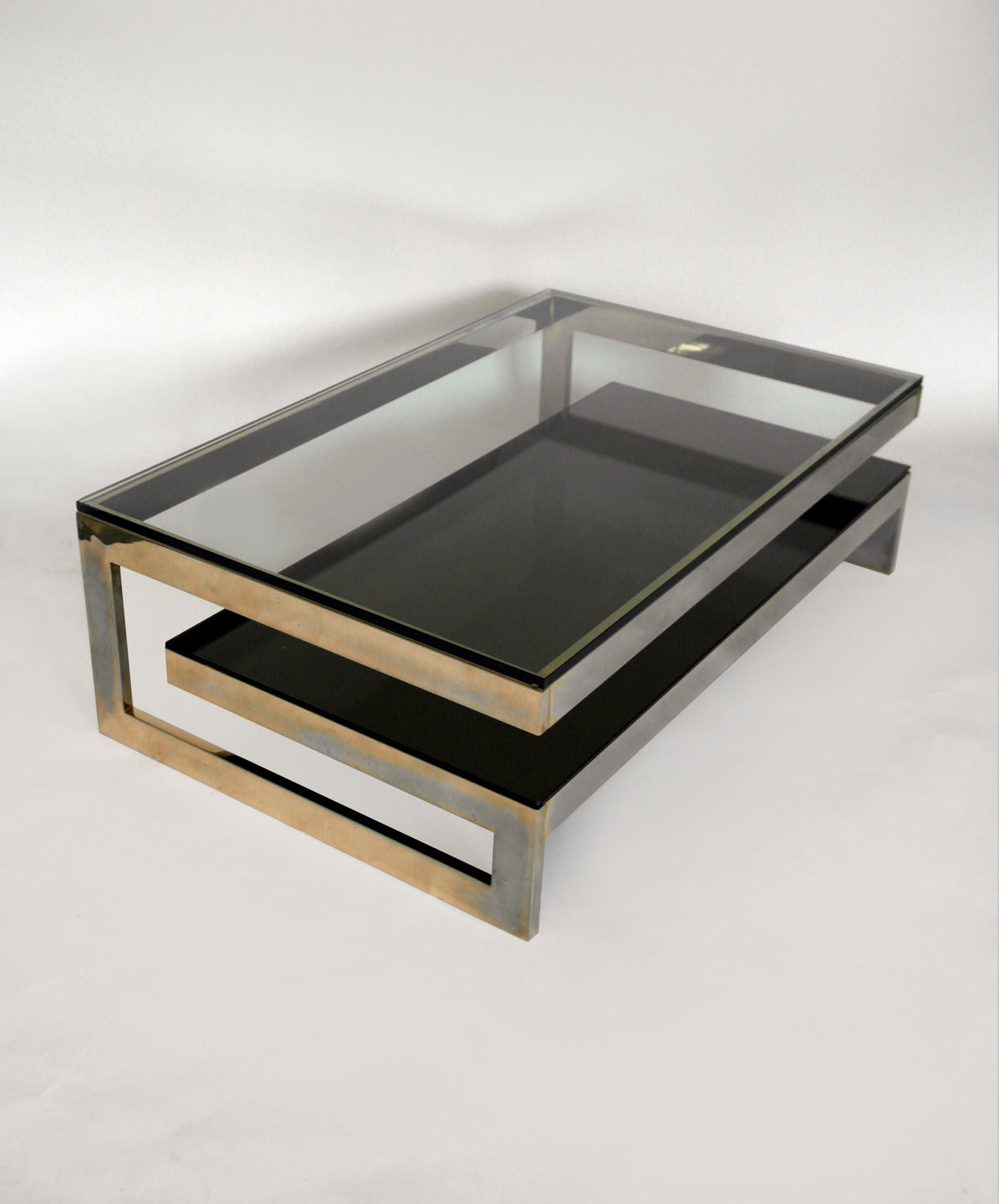 Cantilevered Gold And Smokey Glass G Coffee Table