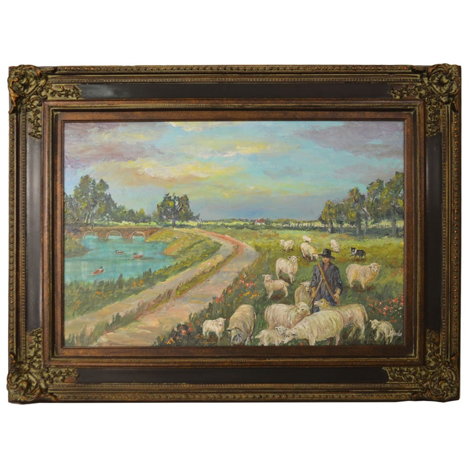 """""""Sheep Grazing at the River"""" Painting For Sale"""