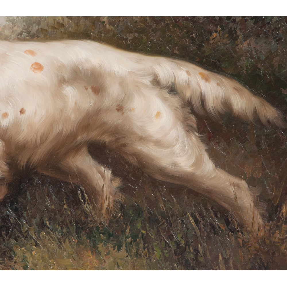 Pair of Oil on Canvas Hunting Dogs For Sale 5