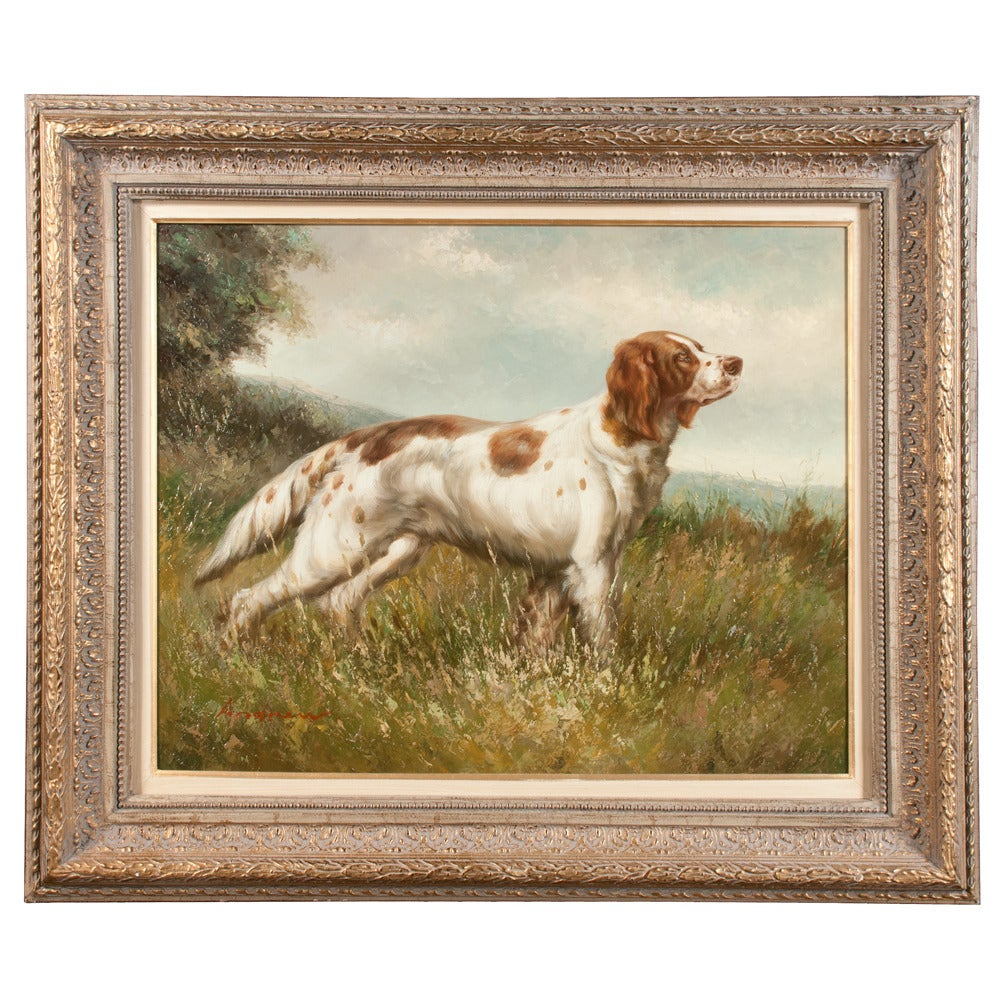 Pair of Oil on Canvas Hunting Dogs For Sale 1