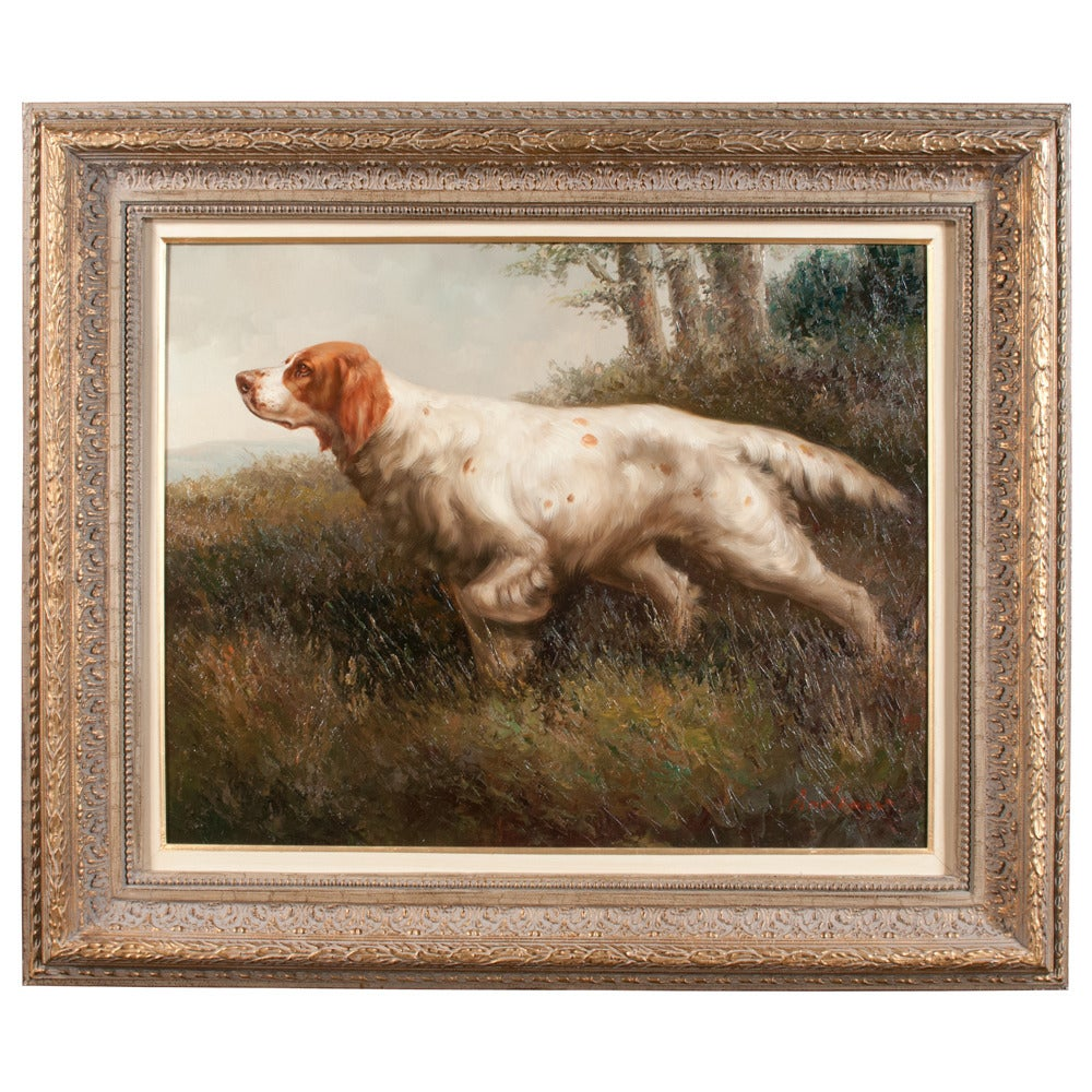 Late 20th Century Pair of Oil on Canvas Hunting Dogs For Sale