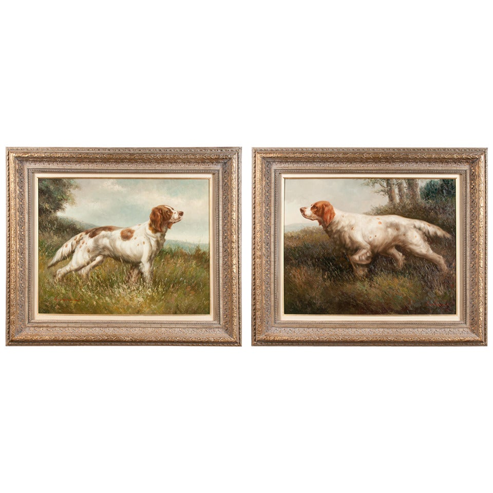 Pair of Oil on Canvas Hunting Dogs For Sale