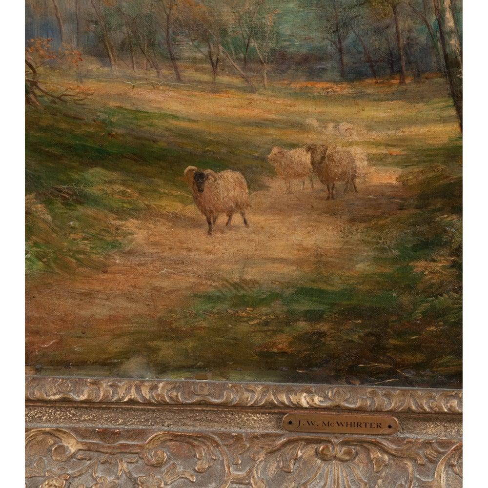 Scottish Oil Painting of Pastoral Scene For Sale