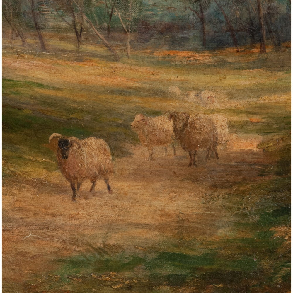 Late 19th Century Oil Painting of Pastoral Scene For Sale