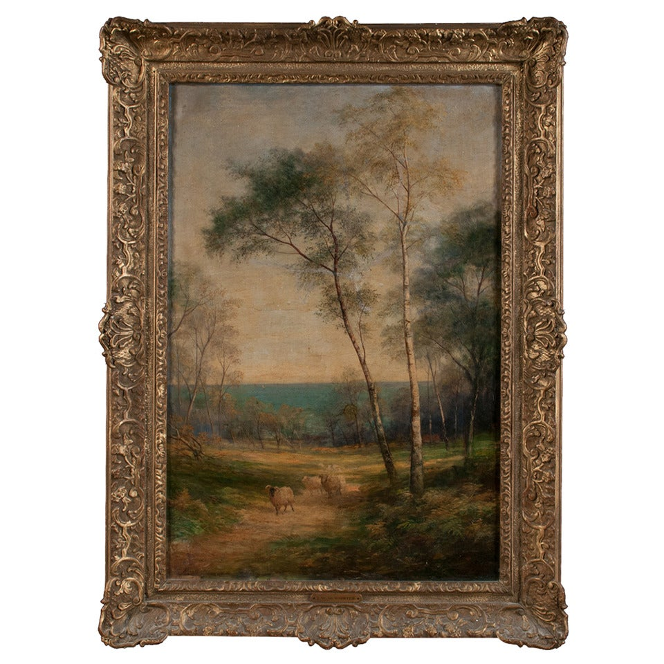 Oil Painting of Pastoral Scene For Sale
