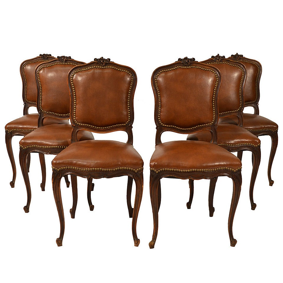 Set of six french country leather dining chairs at 1stdibs for Dining room chairs set of 6