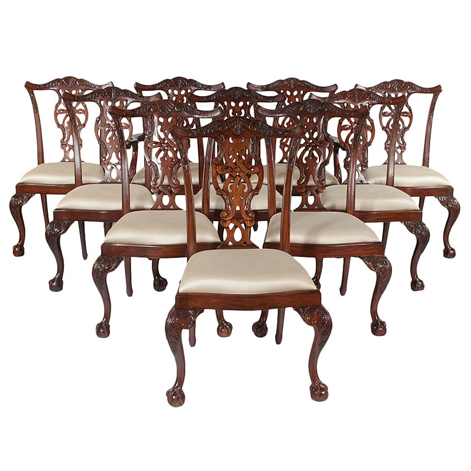 chippendale dining chairs set of ten at 1stdibs
