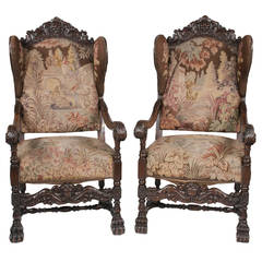 Italian Tapestry Wing Chairs