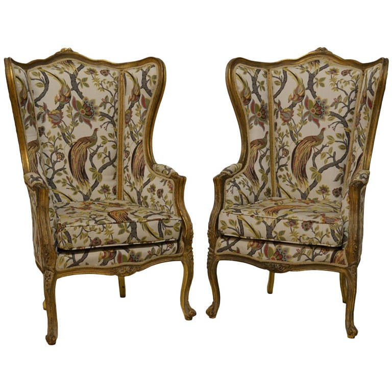 Pair of Antique French Bergères For Sale