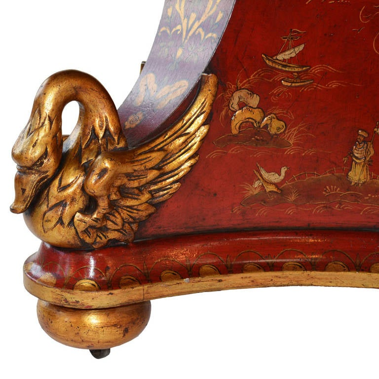 Chinese Chippendale Regency Chinoiserie Crimson and Gold Table For Sale