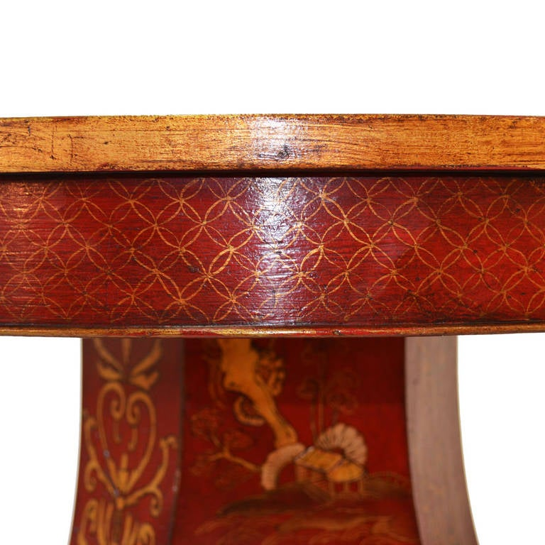 English Regency Chinoiserie Crimson and Gold Table For Sale