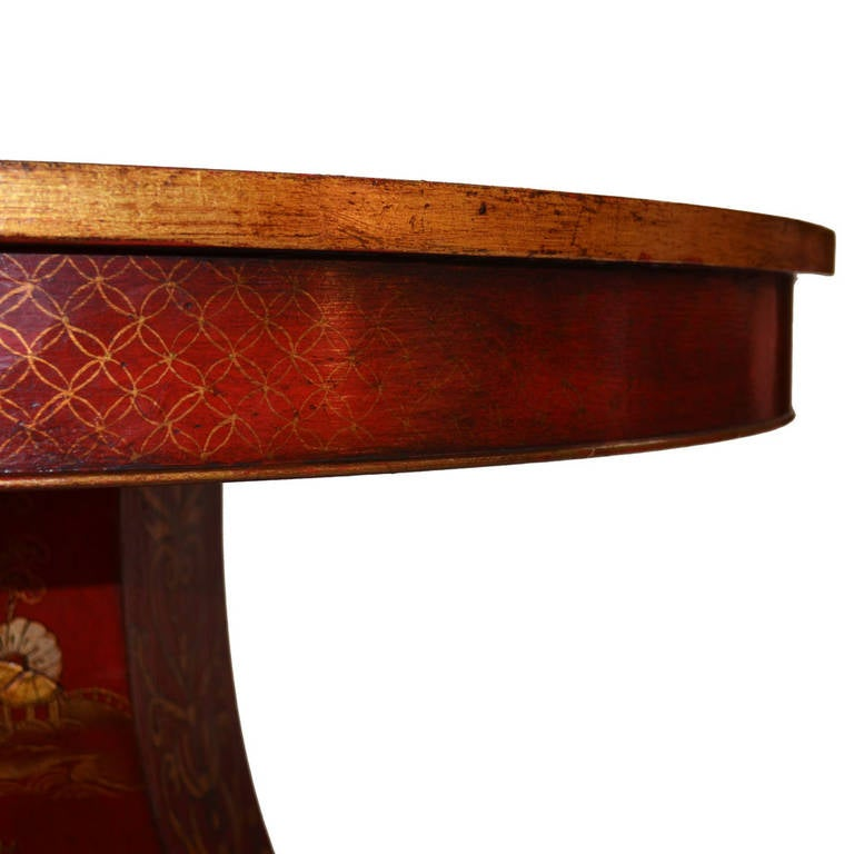 Regency Chinoiserie Crimson and Gold Table In Excellent Condition For Sale In Lawrenceburg, TN
