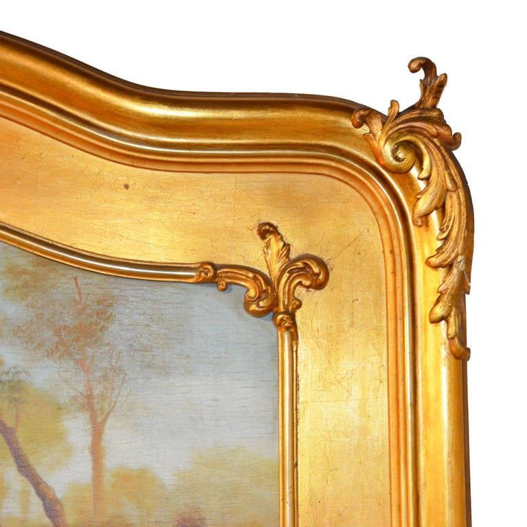 Louis XV Gilded Trumeau Mirror In Excellent Condition For Sale In Lawrenceburg, TN