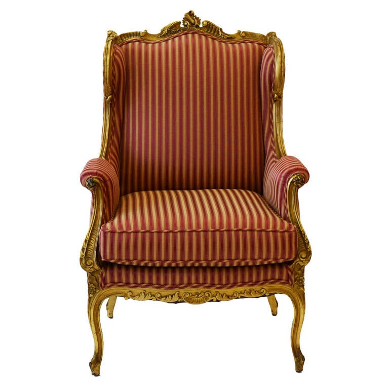 Wing chair in the louis xv style at 1stdibs - Louis th chairs ...