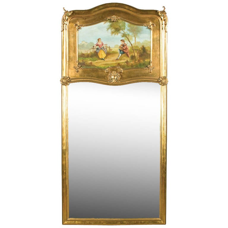 Louis XV Gilded Trumeau Mirror For Sale