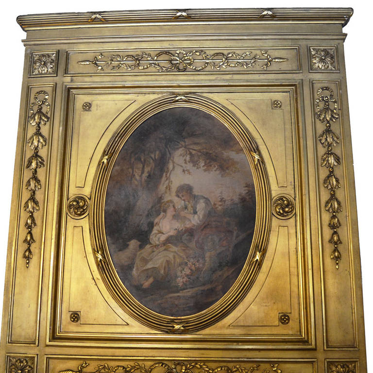 19th-century Louis XVI carved trumeau mirror with a trompe l'oeil oil painting of a garden scene with a gentleman and lady above the mirror. Intricate onlay detail enhances the beauty of this antique, giving it a majestic feeling. In pristine