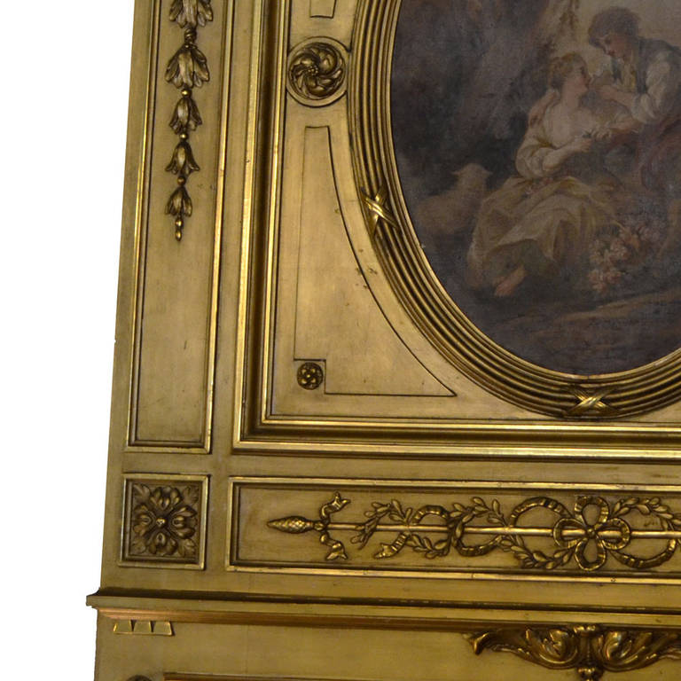 Louis XVI Gilt Trumeau Mirror In Excellent Condition For Sale In Lawrenceburg, TN