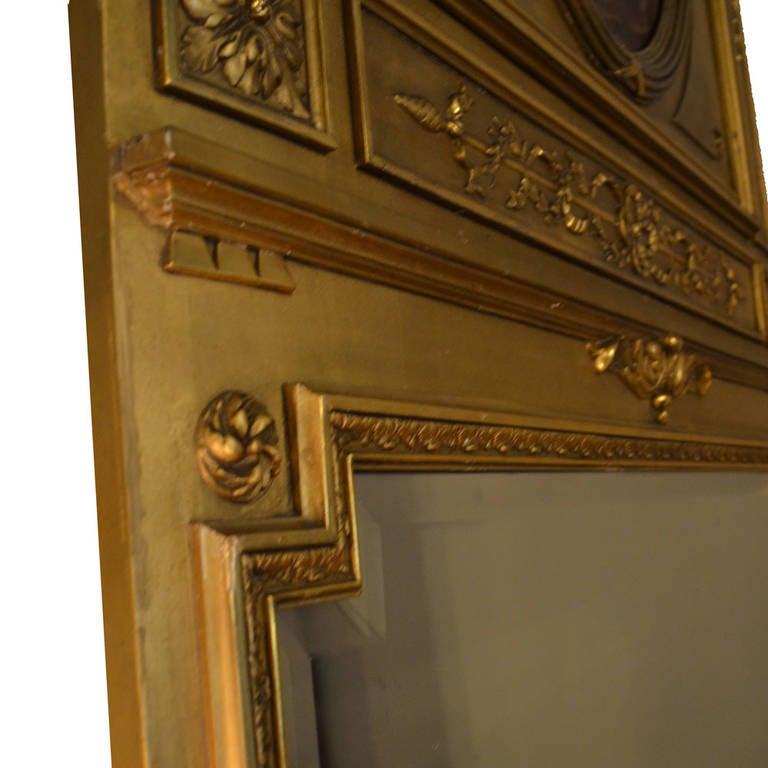 19th Century Louis XVI Gilt Trumeau Mirror For Sale