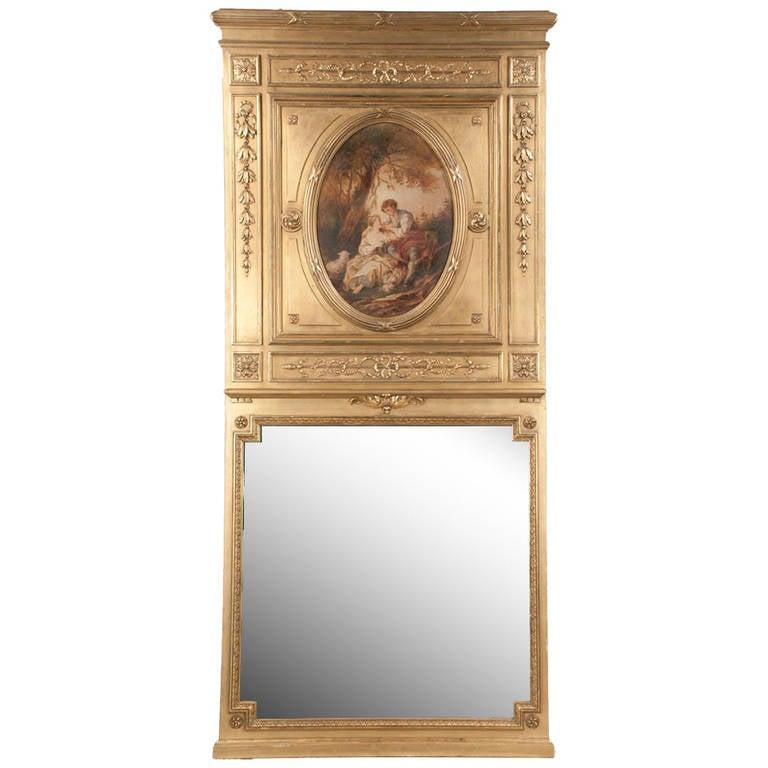 Louis XVI Gilt Trumeau Mirror For Sale